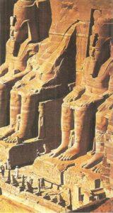 Colossi of Ramses II. Rock temple in Abu Simbel. XIX dynasty.