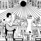 Drawing from a fresco in the tomb of Akhenaten, with a meal of the pharaoh and his family.