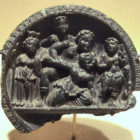 A stone palette depicting a mythological scene. 2-1 centuries BC