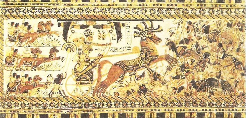 Battle scene. Painting on a wooden casket from the tomb of Tutankhamun. Dynasty XVIII.