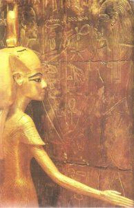 Goddess Neith, guarding the ark with the canopes of Tutankhamun. Dynasty XVIII.