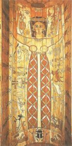 Goddess Nut is framed by the signs of the zodiac. Sarcophagus of Soter from El Qurna. II century. AD