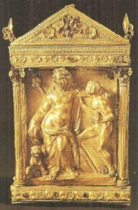 Dionysus with the panther and the satyr. Thessaly. Gold. Late Hellenistic time.