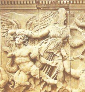 Part of the frieze of the altar of Zeus in Pergamum. Around 180 BC.