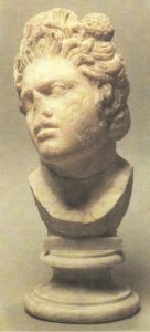 Satyr's head. A Roman copy from the Hellenistic original. Marble. II century BC.