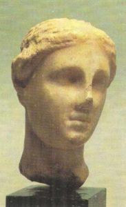 The head of Aphrodite. Marble. III century BC.