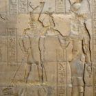 Horus, who kills Seth in the form of a hippopotamus. The image on the walls of the temple of Horus in Edfu.