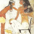 Lady and maid. Painting from the tomb of Dzheserkar-Seneb in Thebes. Dynasty XVIII.