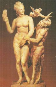 Aphrodite, Eros, and Pan. Sculpture group from Delos Island. Marble. Around 100 BC.
