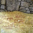 The ceiling of the Stone grave with the image of horses and goats