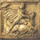 Relief with the image of Mithras slaughtering a bull. Marble. II-III centuries AD.