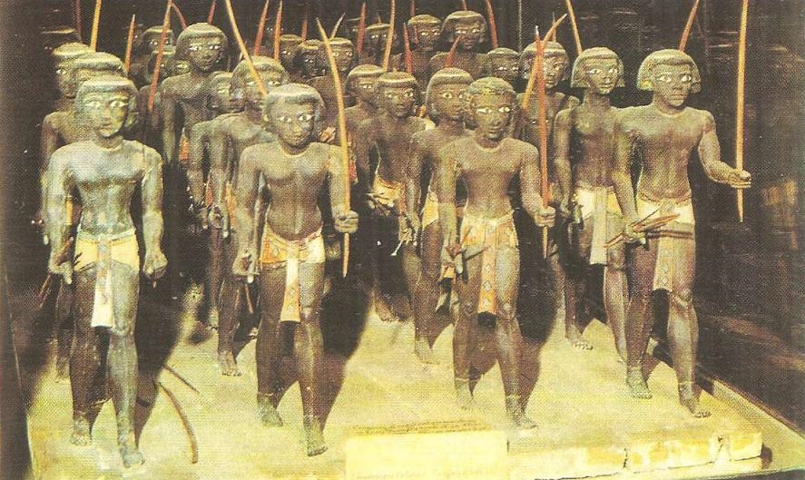 Nubian warriors. Wooden sculpture from the tomb of the nomarch in Siut. The beginning of the Middle Kingdom.