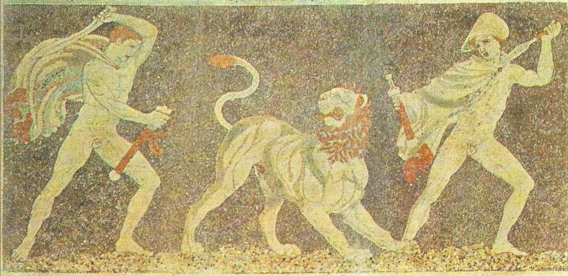 Lion hunting. Mosaic. Pella (Macedonia). 300 BC Lion