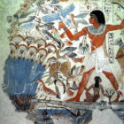 Hunting on the Nile. Painting of the tomb in Thebes. Middle of the second millennium BC.