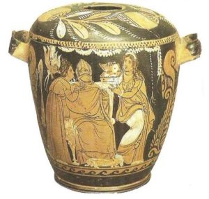 A red-figure pixid depicting the mysteries. Sicily. 330-320 BC