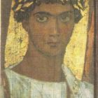 Portrait of a young man in a golden wreath. Wood, encaustic, tempera. Fayum. II century AD.