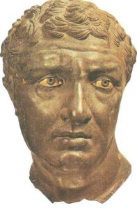 Portrait of a man from Palaestra on the island of Delos. Bronze. II century BC.