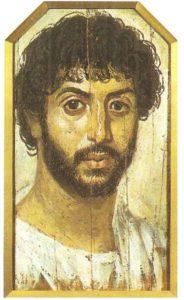 Portrait of a man with a beard. Wood, encaustic, and tempera. Fayum. Mid-II century BC.