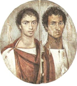 Portrait of two brothers. Wood, encaustic. Fayum. I century AD.