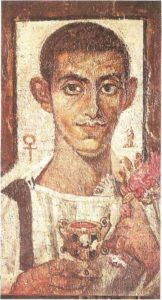 Portrait of a young man in a golden wreath. Wood, encaustic, tempera. Fayum. Beginning of the second century AD.