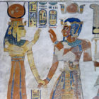 Wall painting. Ramesses III and Hathor in the tomb of Amenherhpshef, son of Ramesses III.