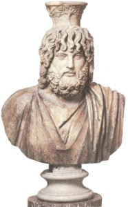 Bust of Sarapis. A Roman copy from the Hellenistic original of the fourth century BC.