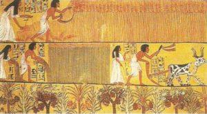 Sennedjen and his wife in the fields of Ialu. Tomb of Sennejen in Deir el-Medina. XIX dynasty.