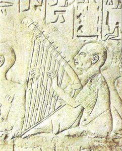Blind Harper. Relief of the tomb of Pa-Aten-emheba in Sakkara. Dynasty XVIII.