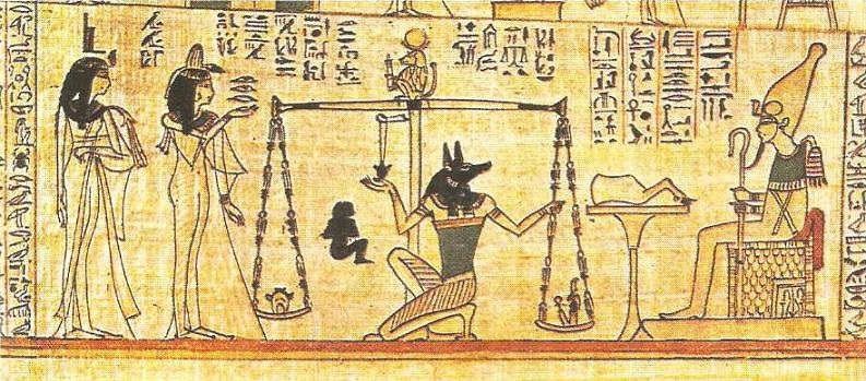 """Osiris' judgment. """"Book of the Dead"""". Papyrus. XXI dynasty."""